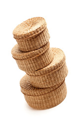 Stack of Wicker Baskets on White
