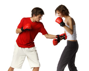 Young people in fighting gloves