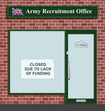 Army recruitment office closed due to lack of funding poster