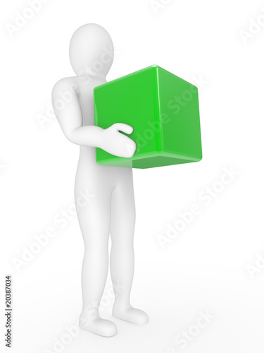 The person with a box in hands