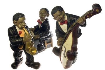 Orquesta de jazz aislada sobre fondo blanco