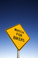'Watch for Bikers' Road Warning Sign