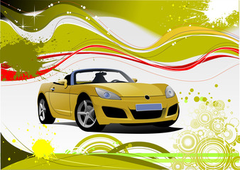 Green and Yellow grunge background with cabriolet image. Vector