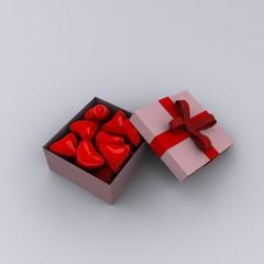 3d hearts in box
