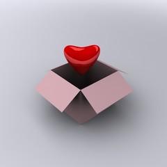 3d heart in box