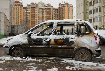 Car destroyed by fire..
