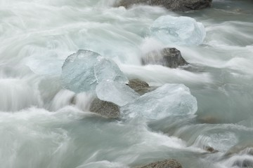 Wtare flowing and ice pieces, Norway