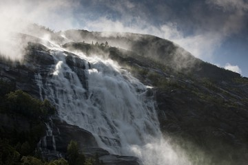 Norwegian waterfall, Langfoss, Akrafjorden