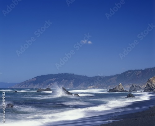 Waves crash against the rocks in Mendocino County, California