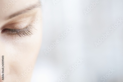 Gold eye shadow on caucasian woman