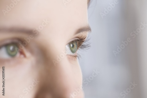 Caucasian woman's green eyes