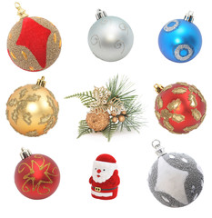 sampler of cristmas decoration isolated on white.