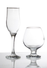 group of glasses isolated on white.