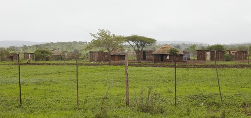 Mut huts in village, Africa