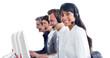 International customer service representatives with headset on