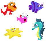 Cute cartoon sea creatures poster