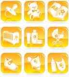 Icon set - baby shopping items.  Vector illustration