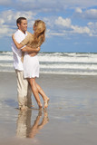 Romantic Man and Woman Couple Having Fun On A Beach