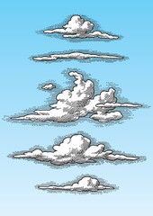 set of retro hand drawn clouds (vector)