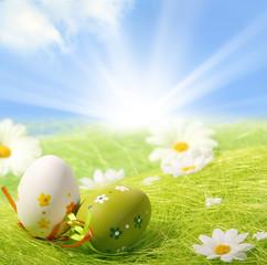 Easter Eggs sitting on grass