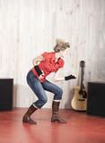 jeune femme défoulement studio guitare poster