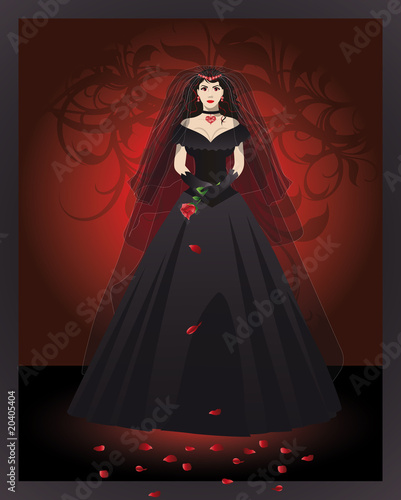 The bride of the vampire in a black dress. vector