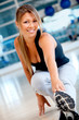 Gym woman stretching