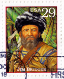 Stamp printed in USA with James Jim Bridger