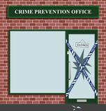 Police cordon at the crime prevention office break in poster