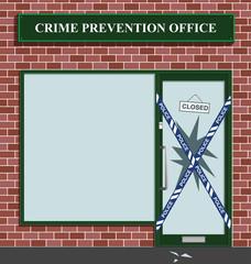 Police cordon at the crime prevention office break in