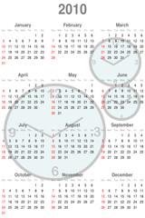 calendario 2010 con relojes