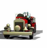 render of a fire truck and manikin front view poster