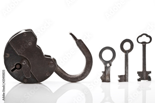 Old open padlock and keys