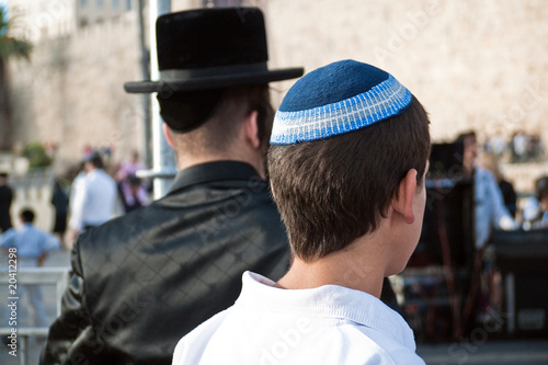 Hassidic Jewish man with religious youth old city Jerusalem