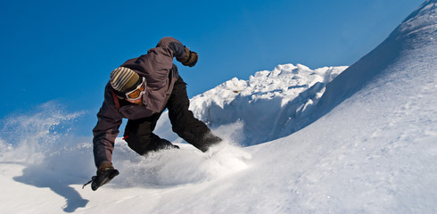 High Speed Snowboarder, Snow Flying