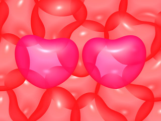 Background of balloon hearts with the two magenta