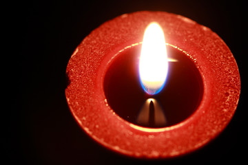 Red candle, from above
