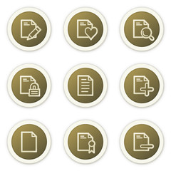 Document web icons set 2,  brown circle buttons series
