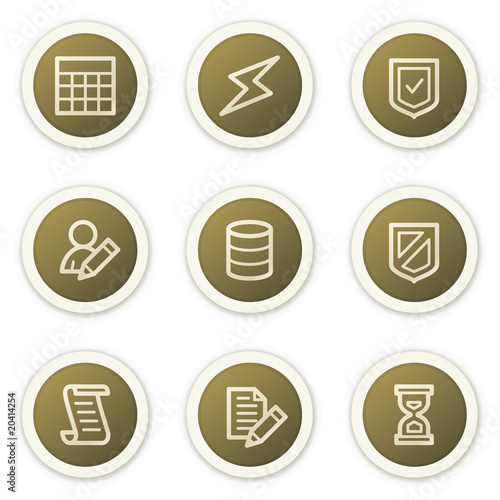 Database web icons,  brown circle buttons series