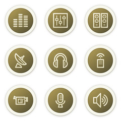 Media web icons, brown circle buttons series