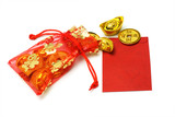 Gold ingots and coins in red sachet and red packet poster