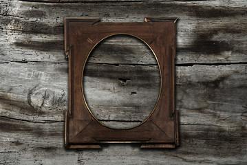 frame on old wooden background
