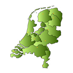netherlands vector map with regions and capitals