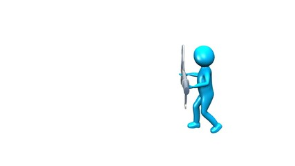 3D man holding a key