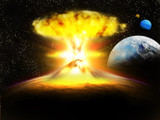 champignon atomique planette galaxie poster