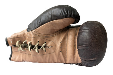 Old boxing gloves with a lace