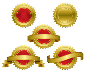 Gold Red Medallions
