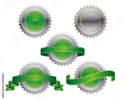 Silver Green Medallions