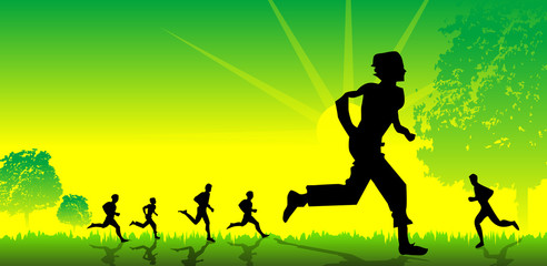 Healthy Green background with running