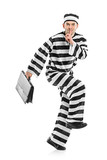 Prisoner stealing a briefcase isolated on white poster